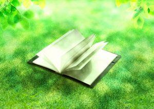 芝生と日記帳